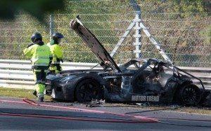 Mercedes Benz SLS Prototype On Fire