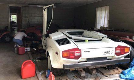 Garage of dusty forgotten supercars